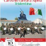 Locandina del Carosello della Fanfara Tridentina piazza Trento e Trieste 10 maggio 2019